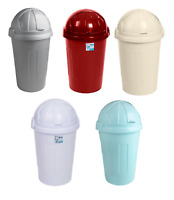 PLASTIC BULLET SWING WASTE BINS RUBBISH BIN 50L LARGE KITCHEN DUSTBIN FLAP LID