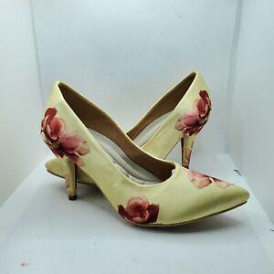 """Women's gold floral platform 3"""" 1/2  high heel dress shoe Luxury Hand made sz8.5"""