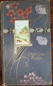 VTG Embossed Post Card Album empty gold art deco faded Nouveau Unused shabby