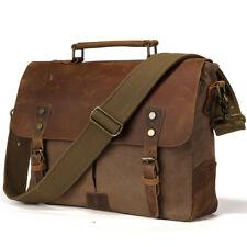 Leinwand&Leder Herren 14''Laptop Aktentasche Messenger Schultertasche Handtasche