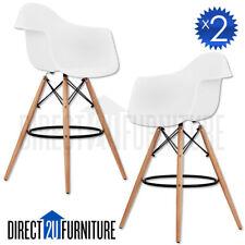 2x MILAN WHITE Retro Replica Eames DSW Bar Stools Armchair Kitchen Wooden Legs