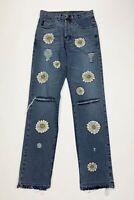 Ice jeans custom donna usato W28 tg 42 flower daisy destroyed boyfriend T5777