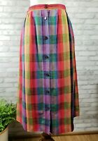 Vintage Breckenridge size 12 button-front colorful plaid skirt with pockets