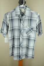 Vintage Men's Gray & Black Plaid Polyester Cotton Casual Shirt S Small