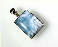 Exquisite Natural Sky Blue Larimar .925 Sterling Silver  Pendant 1.5inch