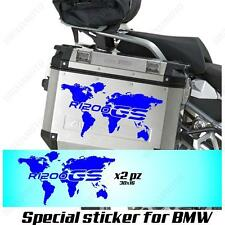 PAIR OF STICKERS WORLD MAP BMW R 1200 GS LC GLOBE FOR SIDE CASES BLUE