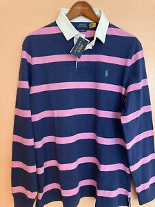 NWT Polo Ralph Lauren Navy Pink Striped Iconic Rugby Color Block Shirt L
