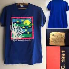 VTG Mystic Marinelife Aquarium T-Shirt 90s Neon Graphics Sz M Newtrend Knitwear