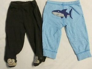 Pre-Owned Carter's Infant Boys 6M Pants 100% Cotton Brown Blue Monkey Shark