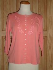 NWT April Cornell Salmon Peach Pink Cardigan New S Small Vintage Romantic Floral