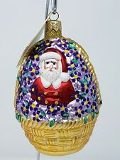Patricia breen glass ornament: forget-me-not Santa in basket