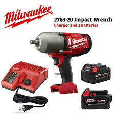 "Milwaukee 2763-2BAT 18V 1/2""  Impact Wrench, 5.0Ah Battery (2), and Charger NEW"