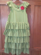 Girl GYMBOREE DARK PINK FLOWER ON SAGE LIME GREEN RUFFLE Dress EUC 8 Spring