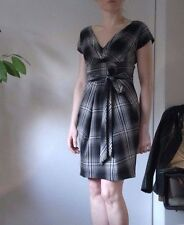 Warehouse Black White Check Tartan Tulip Dress Mini Land Girl Tea Day size 10