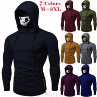 Mens Gym Thin Hoodie Casual Long Sleeve Hoodies With Mask Skull Sweatshirt Tops