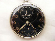 BEAUTIFUL AND RARE MINERVA CHRONOGRAPH POCKET WATCH c1940s BLACK DIAL