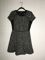 J Crew Black White Tweed Sleeveless A-Line Swing Dress Smart Career Dress Size 8
