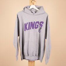 Vintage SACREMENTO KINGS American Basketball Big Logo Grey Hoodie Mens XL