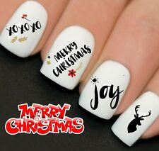 Nails WRAPS Nail Art Water Transfers Decals Vintage Joy Merry Christmas Y775