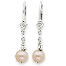 Sterling Silver Polished Leverback Dangle Cream Color Cultured Pearl Earrings