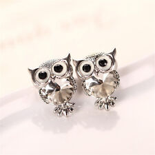 Charming Women Girls Owl Shape Crystal Ear Stud Wedding Gift Earrings Jewelry