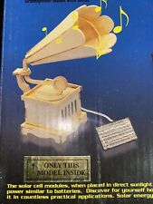 New Solar Wooden Gramophone Model Kit With Motor Plays Music