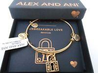 Alex and Ani Unbreakable Love Bangle Bracelet Rafaelian Gold New Tag Box Card
