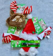 NEW 5 items Cat or Small Dog Christmas Costumes 1 Collar, 2 Hats, 2 Ties