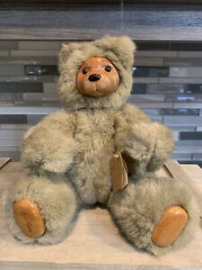 """Robert Raikes 11"""" Cookie Jointed Wooden & Tan Plush Bear By Applause Toys"""