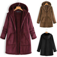 ZANZEA Women Hooded Zip Up Fleece Coat Jacket Parka Overcoat Tunic Fur Outerwear