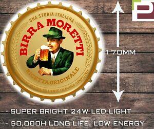 Birra Moretti Bottle Top Light, WALL MOUNTED LIGHT for Garage, Man Cave, Bar etc