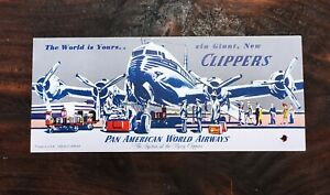 VINTAGE VERY RARE BLOTTING PAPER PAN AMERICAN WORLD AIRWAYS CLIPPER BONITA