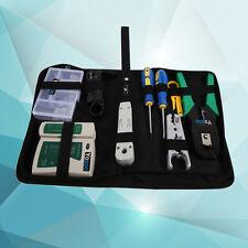 9-teilig Netzwerk Kabel Werkzeug Set Tasche Kabeltester Crimp Stecker Zange ZZ