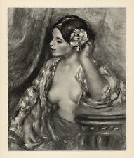"Beautiful 1919 Pierre Auguste RENOIR Engraving ""Femme à sa Coiffure"" FRAMED COA"