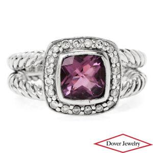 DAVID YURMAN Diamond Amethyst Sterling Silver Petit Albion Ring 5.5 Grams NR