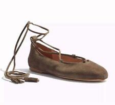 NEW $109 Madewell Inga Lace-Up Flats Shoes Suede Darkest Olive Sz 9.5 SOLD OUT!