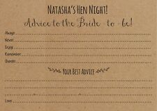 Personalised Hen party, hen night Advice to the bride, activity cards x 12