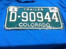 License Plate Tag Colorado Trailer D 90944 1990 Rustic USA