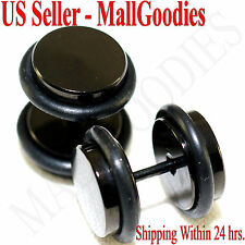 2088 Black Fake Cheaters Illusion Faux Plugs 16G Surgical Steel 00G 10mm Large