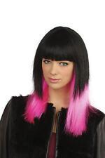 Long Black & Neon Pink Wig Glamour Celebrity Fancy Dress Accessory Jessie J