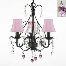 "WROUGHT IRON CRYSTAL CHANDELIER W/ PINK CRYSTAL HEARTS & SHADES! H18"" x W14"""