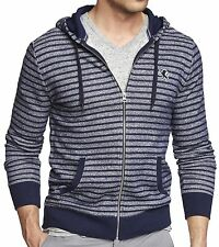 NWT 【XL】【$70】 New EXPRESS Men's Marled Striped Lion Blue Zip-Up Hoodie Sweater