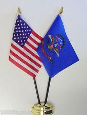 Vereinigte Staaten Von Amerika & North Dakota Doppel Friendship Tisch Flagge Set