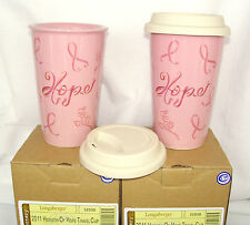 Two 2 Horizon of Hope Pink Travel Cup Mug Hot Cold Longaberger 10 oz New