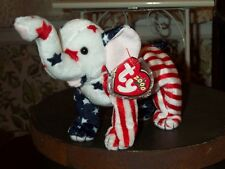Ty Beanie Baby babies Righty Republican Elephant 2000-Usa Red White Blue Retired