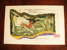 Vintage LINKS AT SPANISH BAY GOLF COURSE PEBBLE BEACH Print - BRAND NEW UNUSED