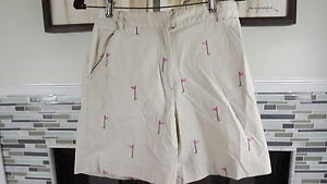 Sz 4 Lilly Pulitzer F/F Khaki Shorts Embroidered Golf Balls & Flags