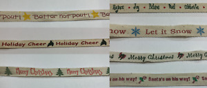 """1/2""""-7/8"""" Christmas Natural Cotton Twill Tape Holiday Wrapping Craft Sewing Bow"""