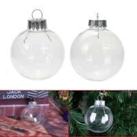10/12cm Christmas Tree Clear Plastic Flat Ball Pendant Home Party Ornament Decor