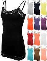 Womens Long Tank Top Spaghetti Strap Cami Lace Shirt Basic Tee Camisole S - 3XL